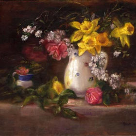 13 Daffodils in White Jug