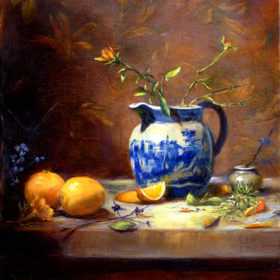 Blue and White Jug w Oranges