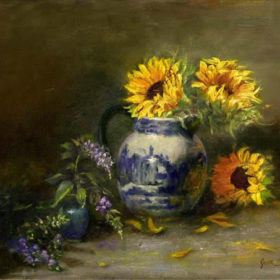Sunflowers with blue and white jug