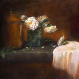 White Roses w Copper Pot